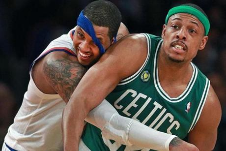 Carmelo Anthony got the best of Paul Pierce and scored 34 points for the Knicks.